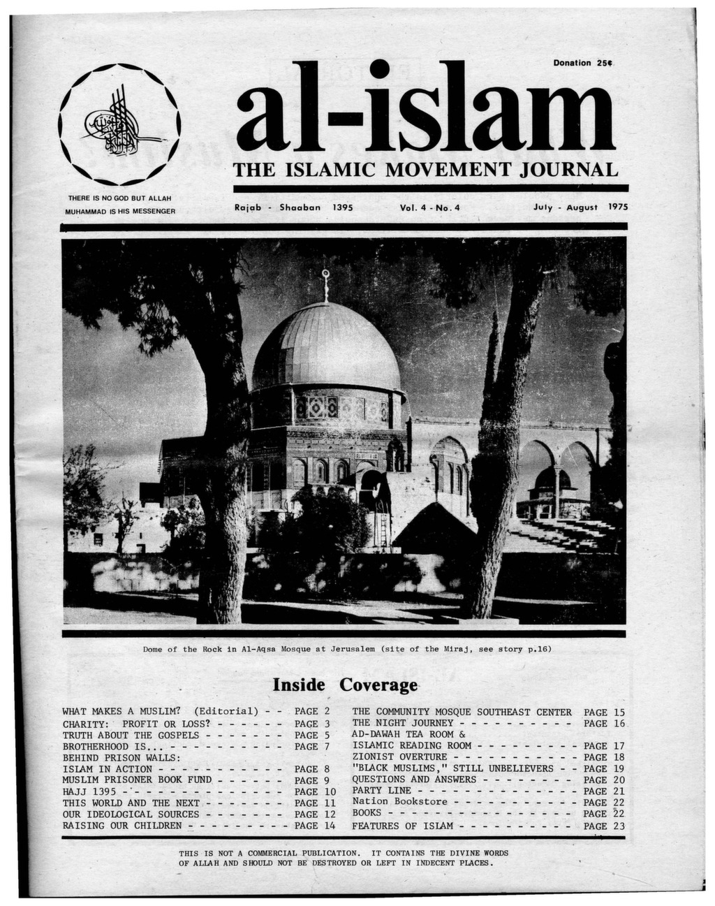 Al-Islam, 1975, Vol  4, No  4 (July-Aug) - After Malcolm