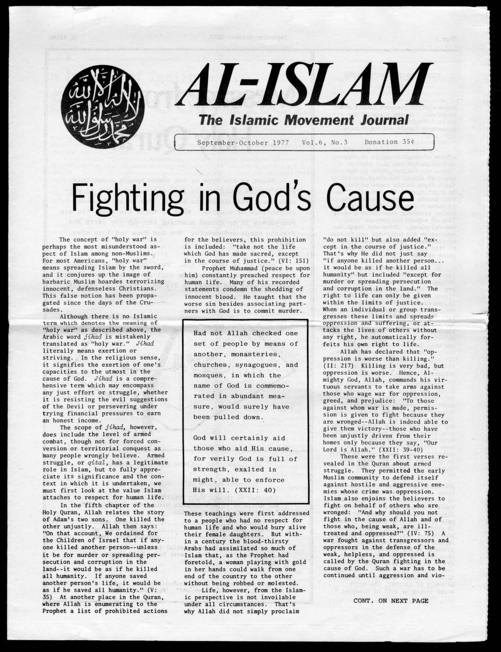 Al-Islam, 1977, Vol  6, No  3, (Sept - Oct ) - After Malcolm